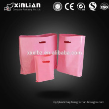Plastic hdpe and ldpe die cut bag with punched handles