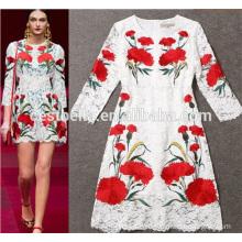 2016 Nuevo Mediados de Edad Mujeres Vestido Moda Vestido Vestido vestido de las mujeres de moda de flores vestido