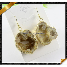 La piedra plateada oro de la ágata de Druzy cuelga la joyería cruda de la piedra preciosa de los pendientes (FE069)