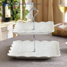 Square Shape Blumenmuster Pure White Fine Porzellan Obst Teller für Hochzeiten, italienische Keramik Kuchen Platten