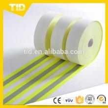 Lima Fluorescente, Plata 1 '', Tejido Reflectante Resistente a la Llama, Respaldo Nomex, 50 Ciclos de Lavado Industrial
