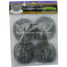 silver cleaning scrubber mesh cleaning ball , metal scourer,mesh scourer