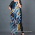 Lenço quadrado laminado a mão de 100% Stripe Silk Digital Print
