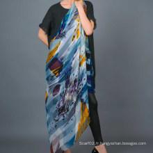 Echarpe carrée 100% à rayures en soie à imprimé numérique