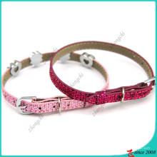 Colar de gatos de couro rosa Shinny para acessórios do animal de estimação (PC16041402)