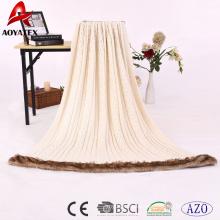Urdimbre de la materia textil casera que hace punto la manta de acrílico hecha punto con la piel de imitación para la venta