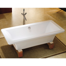 Milan 1690 Modern Square Roll Top Bath with Wooden Leg Set