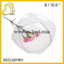 porcelana de melamina de alta calidad que imita platos cuadrados blancos