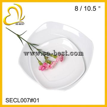 высокое качество меламин фарфор подражая квадратные белые плиты обедающего