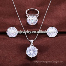 China wholesale Fashion Women Cubic Zirconia Crystal 925 Sterling Silver Jewelry Sets