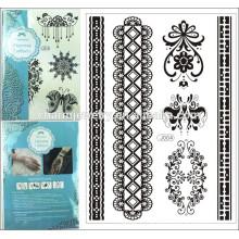1pcs / lot 15 * 21cm Vente en gros Sexy Floral Black Lace Henna Temporaire Flash Tattoo Body Art Stickers j004