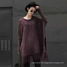Neue Art und Weise gestrickter Poncho-Strickjacke für Frauen-Pullover-Mantel-Winter