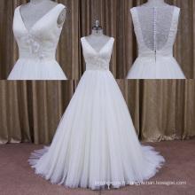 Floral DOT Tulle sans manches en dentelle de mariée robe de mariée