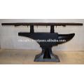 Industrial Anvil Metal Base Console Table Reclaimed Sleeper Wood Top