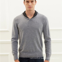 homem lapela pescoço tricô suéter de cashmere pullover