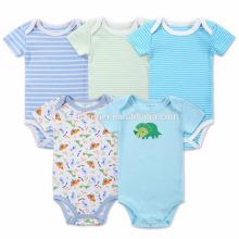 El pelele orgánico de la lentejuela del bebé del color verde azul de la raya del algodón al por mayor del bebé viste el mameluco del navidad