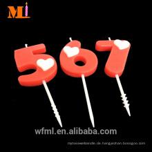 Höchste Stufe Kuchen Dekoration benutzerdefinierte Logo Geburtstag rote Zahl Kerze