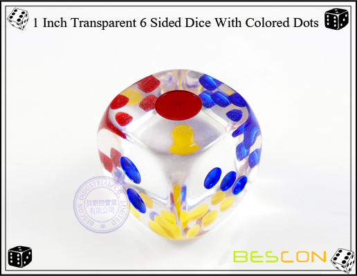 1 Inch Transparent 6 Sided Dice With Colored Dots-2