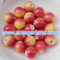 10MM Plastic Round Pony Beads Yellow Red Two Tone Charms