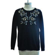 Трикотажные свитера с длинным рукавом с круглым вырезом
