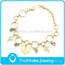 TKB-B0080 Round Extensions Link Cross Cyrstals Charm Gold Bangles Latest Designs