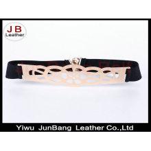 Cinturón elástico de plata de la placa de metal de la mujer para la capa