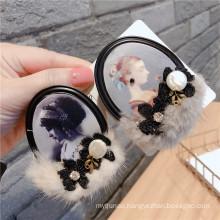 Fall Winter Rhinestone Bow Fur Beauty Designer Brooch Pin for Women Girl Coat Sweater Accessories Vintage Badge Fashion Jewelry