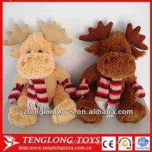 Juguetes suaves de Navidad Estilo de Invierno peluche de peluche alce con una bufanda y guantes