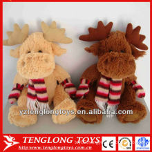 Christmas soft toys Winter Style stuffed plush moose with a scarf and gloves
