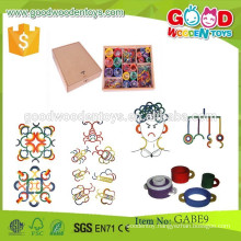 new design gabe toys 35*35*8 cm size box toys OEM wooden colorful kids toys rings