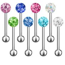Joyería de Barbell Piercing de la lengua Joyería Multi del cuerpo de bola de Cristal de Ferido