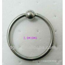 Anneau en acier inoxydable anneau bague captivée