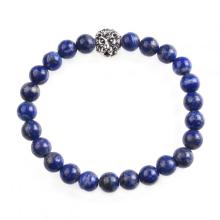 Lion Head Mens Bracelet Lapic Lazuli Beaded