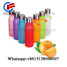 BPA Free Plastic Bottle Candy Color Unbreakable Sport Outdoor Water Bottle With Strap Leak Proof Sport Wide Mouth