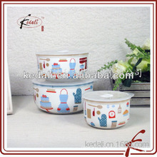 beautiful decal of ceramic bowl with cover
