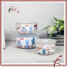 Bonito decalque de cerâmica tigela com tampa