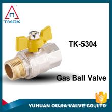 TMOK brand male female BSP/NPT cw617n ball valve for gas nickel plated PN25 medium pressure CE hydraulic full port control valv