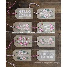 2015 nouveau design déchiré fantaisie fleur papier étiquettes de cadeaux merci tags tags joyeux anniversaire