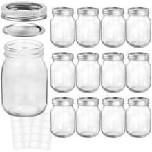 Premium strong high quality 16oz wide mouth glass mason jar for honey jam food storage