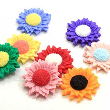 Cabochon in resina colorata girasole Kawaii 34mm per scrapbooking per telefono