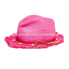 Kid's fedora straw hat with raw edge and paper braided band, beads, suitable for summer outing