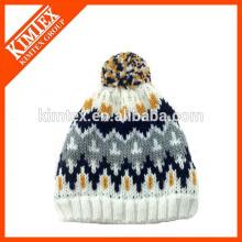 Invierno Nueva llegada Unisex Island Jacquard Knitting Hat Con Pom Pom