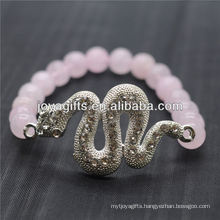 Wholesale Natural Gemstone Rose Quartz With Silver Diamante Snake Bracelet