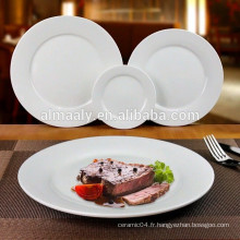 assiette en vrac en gros, plaque de pâtes en porcelaine blanche