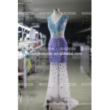 Elegante sirena Appliqued Cap vestidos de noche sin mangas