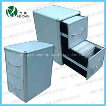 Aluminum Frame 2 Drawers CD Case&Box&Cabinet (HX-P1386-2)