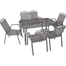 Outdoor iron netting furniture 7pc dining set-umbrella hole