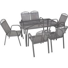 Ferro ao ar livre redes móveis 7pc de jantar conjunto-guarda-chuva buraco