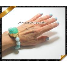 Verde Druzy pulseiras, pulseira semi preciosa jóias da forma (CB023)