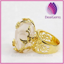 Wholesale natural rock crystal ring hollow-outed imitation gold rose ring jewelry